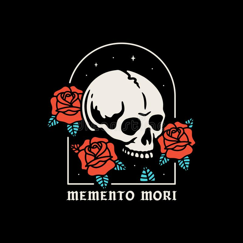 Free SKULL WITH ROSES MEMENTO MORI COLOR Royalty Free Stock Photos - 137281428