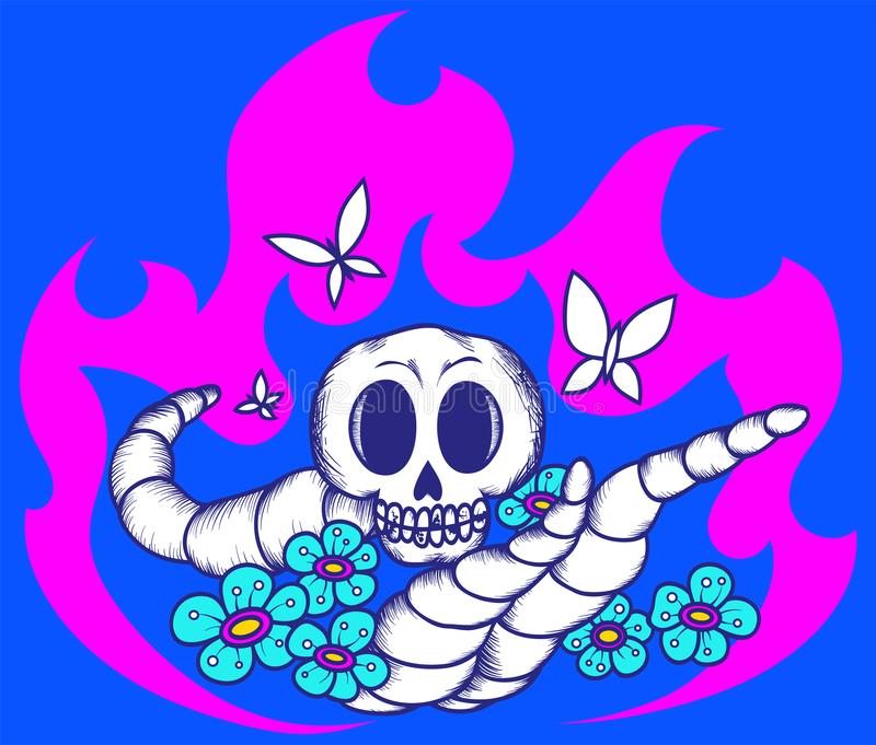 Skull worms flowers fire3 stock illustration