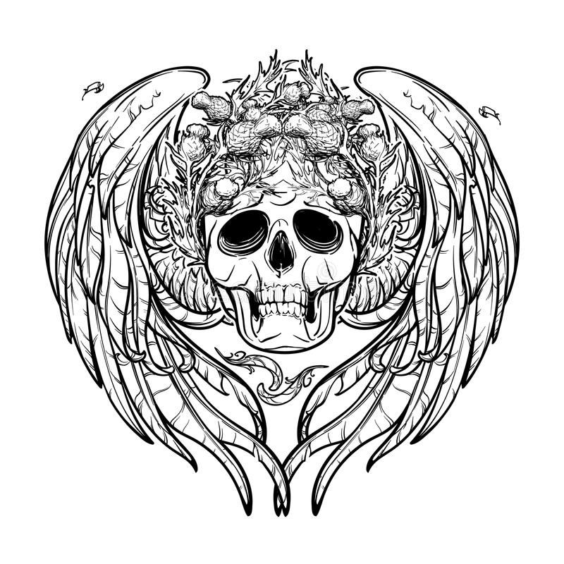 Skull in wreath with wings. Black and white. stock illustration