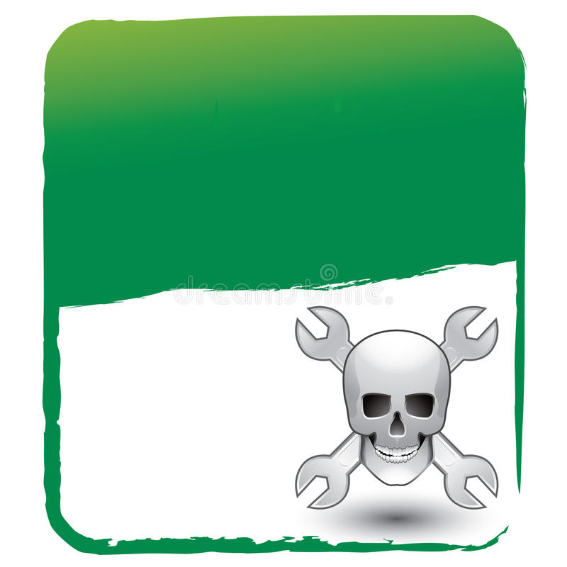 Download Skull And Wrenches On Green Background Stock Vector - Illustration of gear, danger: 11486642