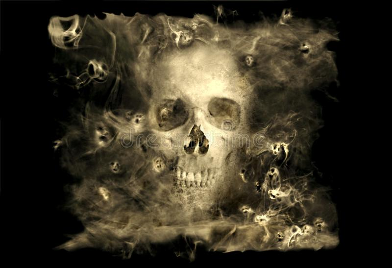 Skulll com demónios do fumo ilustração do vetor