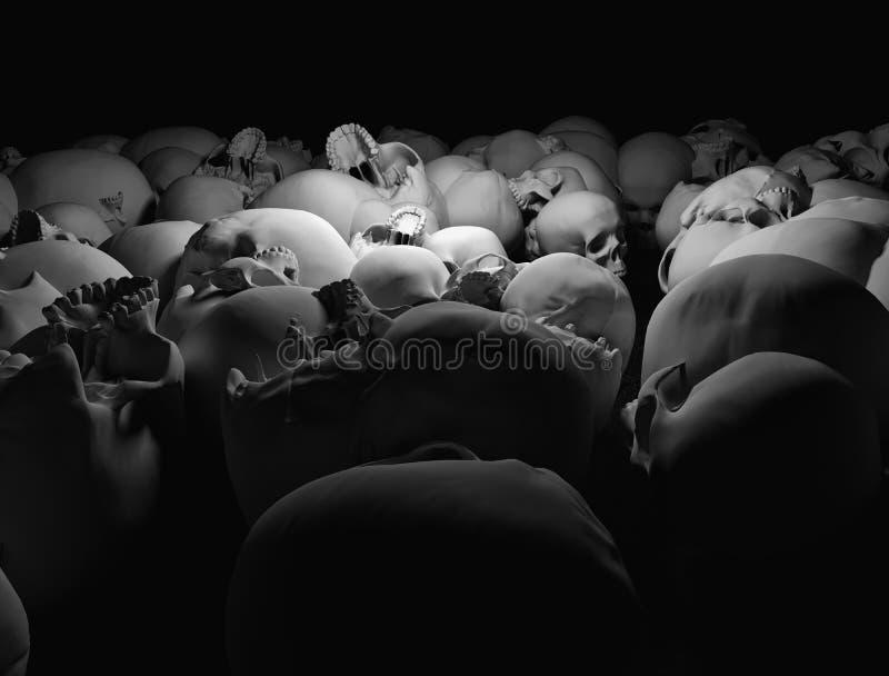 Skulls in the dark vector illustration