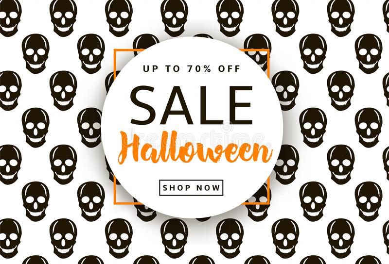 Skulls background. Halloween sale banner, poster stock illustration