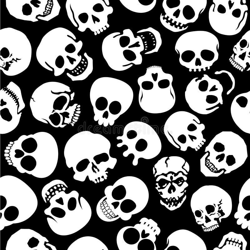 Skulls in Black Background Seamless Pattern stock illustration