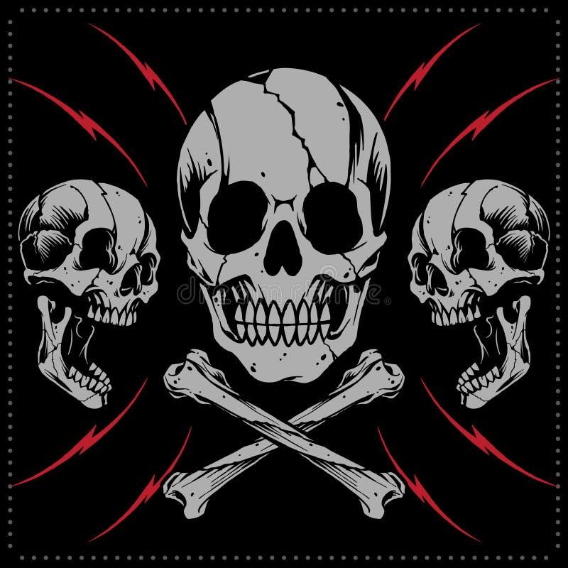 Skulls and bone cross vector. Skulls Old school Tattoo Style royalty free illustration
