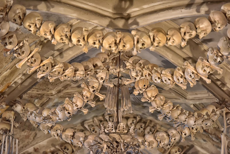 Skulls and bones , interior Sedlec ossuary. Kutna Hora, Czech Republic. Skulls and bones decorating the interior of the Sedlec ossuary (Kutna Hora, Czech royalty free stock images