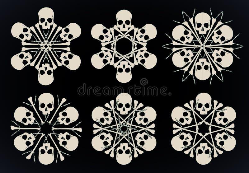 Skulls and bones jolly snowlakes stock illustration