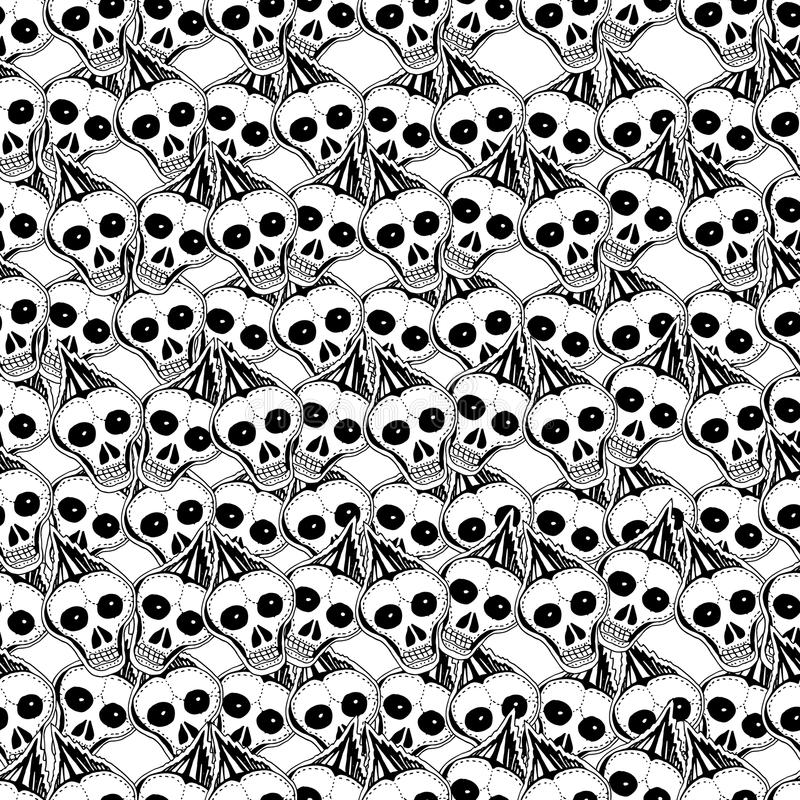 Skulls and bones. Vector hand drawn cute seamless pattern. stock illustration