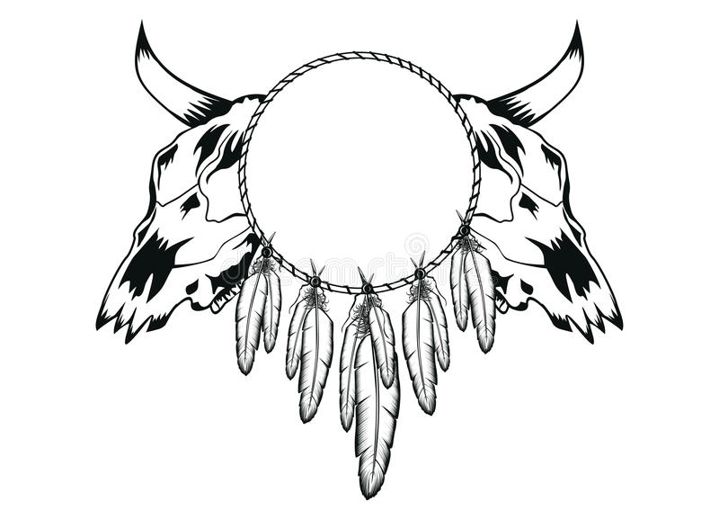 Download Skulls bull and tambourine stock vector. Image of tattoo - 25510559