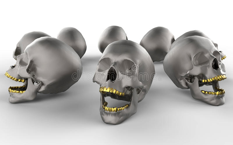 Skulls with golden teeth royalty free illustration