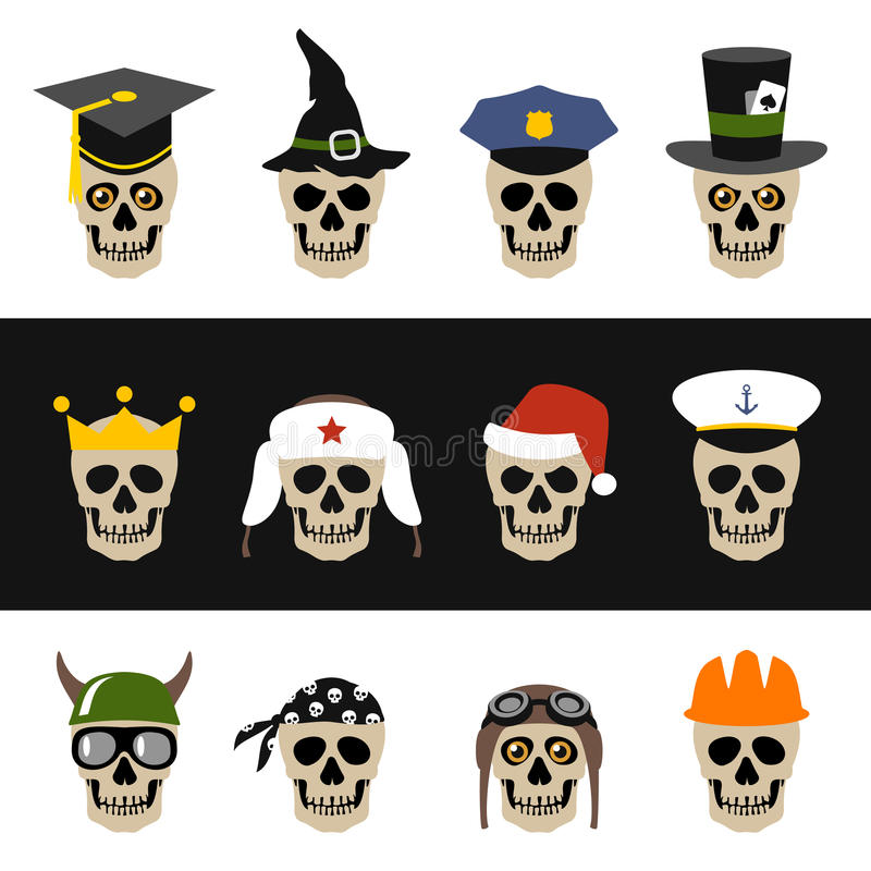 Skulls with hat, helmet, cap, bandanna and crown royalty free illustration