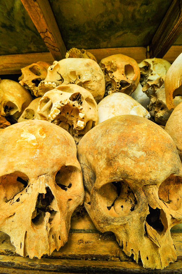 Skulls from the Killing Fields in Cambodia, this happened from a stock photography