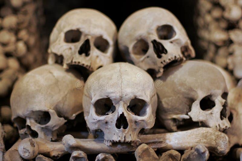 Skulls kutna hora. Human skulls and bones in the Ossuary , Kostnica at Sedlec near Kutna Hora, Czech Republic stock photo