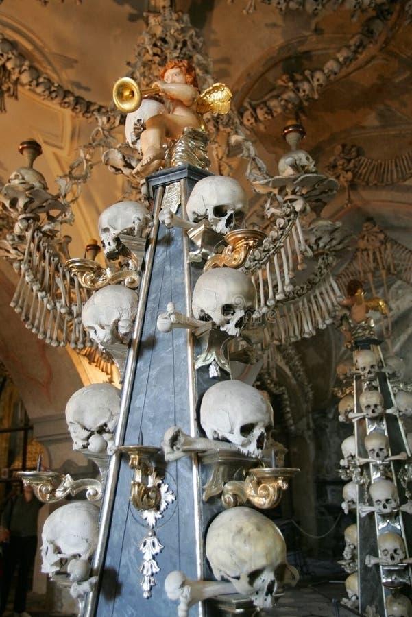 Skulls kutna hora. Human skulls and bones in the Ossuary , Kostnica at Sedlec near Kutna Hora, Czech Republic stock images