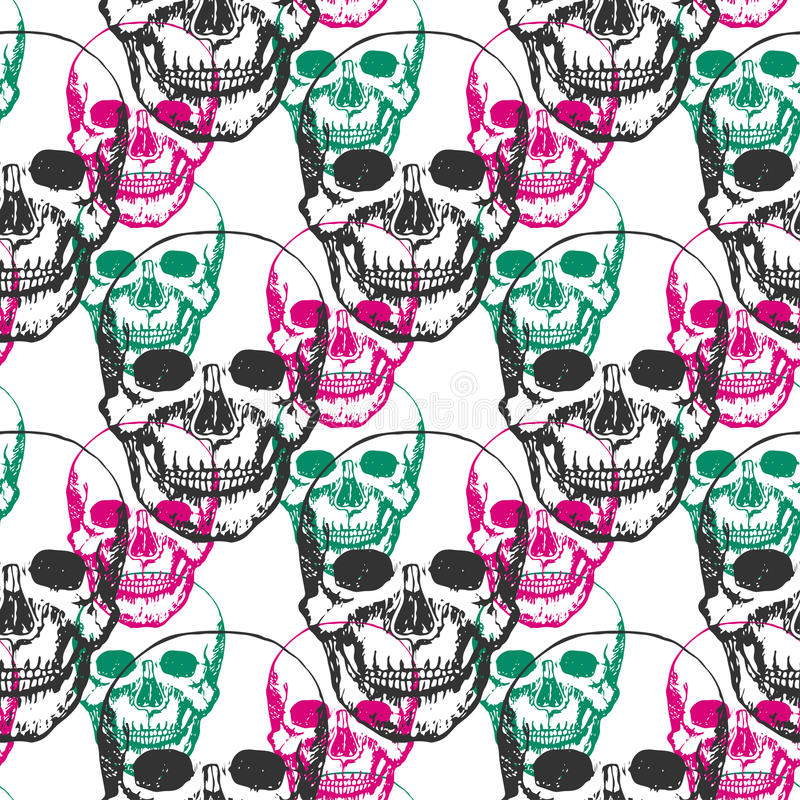 Skulls print. Skull pattern in black, pink and green color. Seamless skulls with color triangle for textile, fabric, wrapping. stock photos