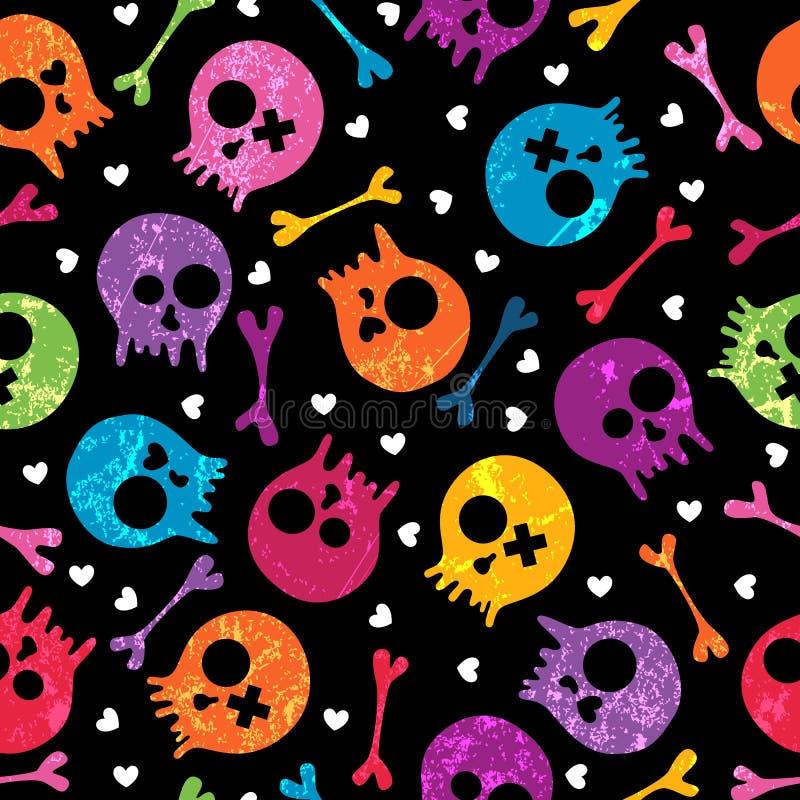 Skulls seamless pattern stock illustration