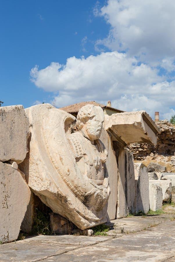 Skulptera i den archaelogical platsen av Eleusis, Attica, Grekland arkivbilder