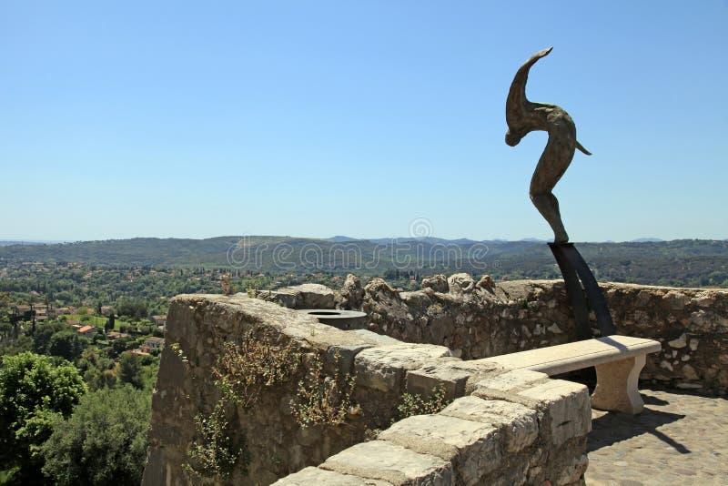 Skulptur auf Wällen von Heilig-Paul-De-Vence, Provence, Frankreich stockbild