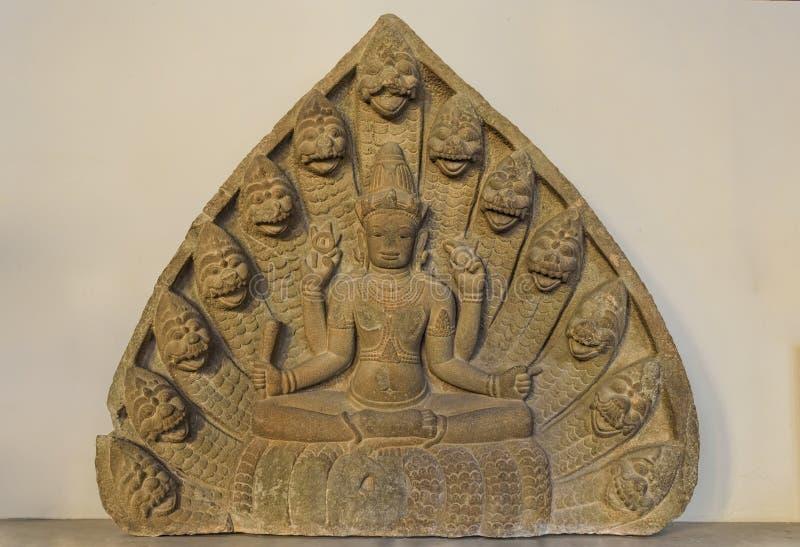 Skulptur av än Vishnu i Da NangChammuseum fotografering för bildbyråer