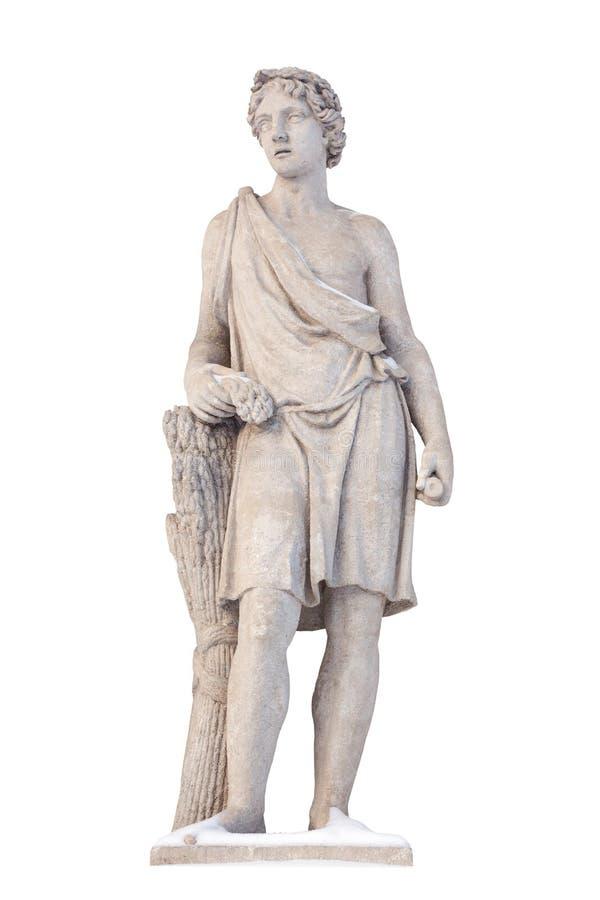 Skulptur av den gammalgrekiskagudAdonis isolaten Adonis var en gud av sk royaltyfria foton