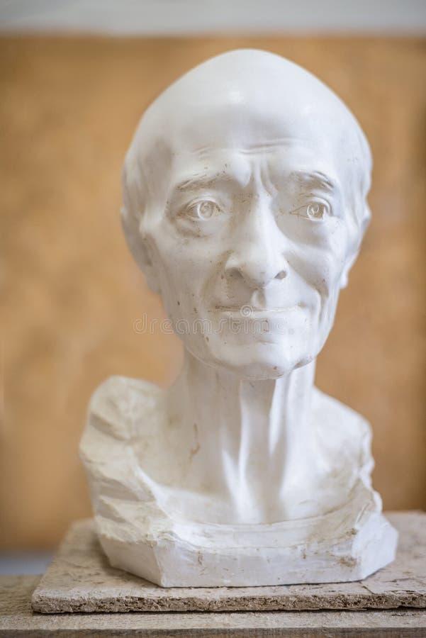 Skulptur av den manliga framsidan av åldringen Lodlinjen inramar royaltyfria foton