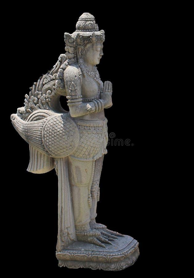 Skulptur av en kvinna med fågel` s lägger benen på ryggen arkivfoton