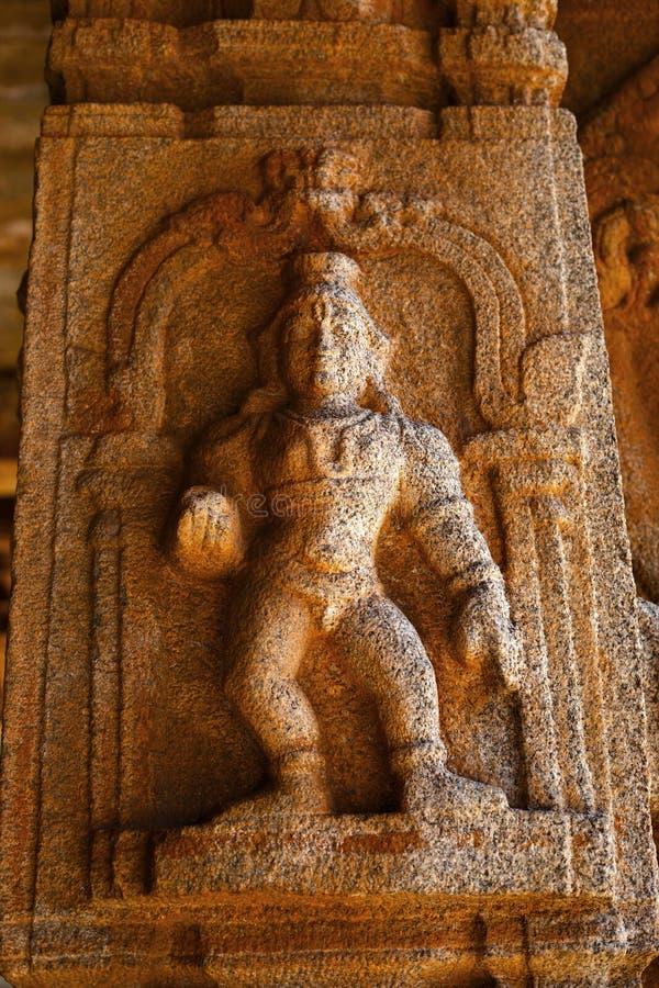 Skulptur av Lord Krishna på den Vittala templet, Hampi, Karnataka, Indien arkivbilder