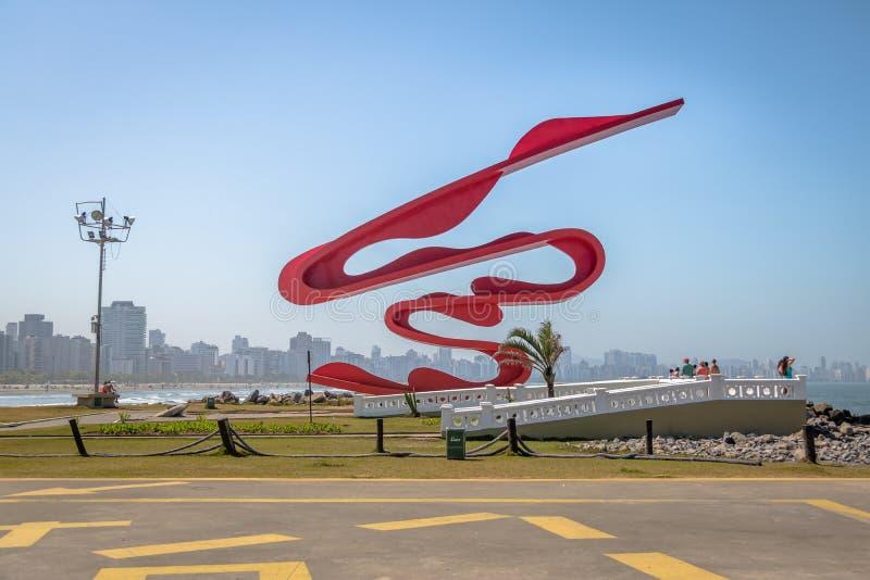 Skulptur av Tomie Ohtake på Marine Outfall Emissario Submarino - Santos, Sao Paulo, Brasilien fotografering för bildbyråer