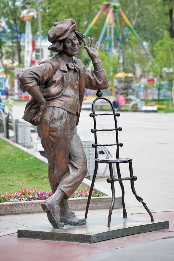 Skulptur des sowjetischen Clowns Oleg Popov in Tyumen lizenzfreie stockfotografie
