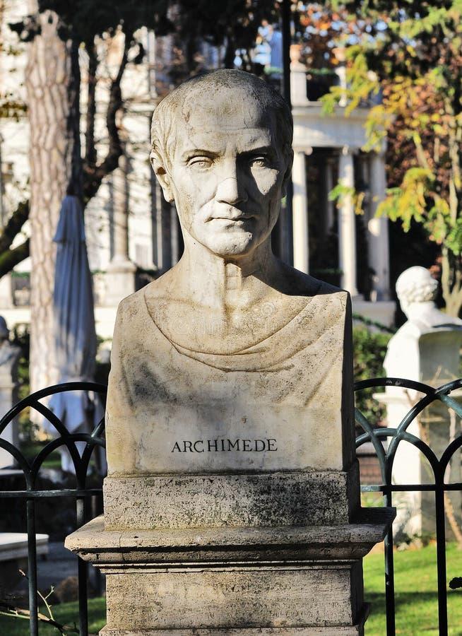 Skulptur för Archimedes `-bröst i Rome, royaltyfri foto