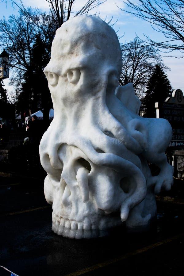 Skulptur för bläckfiskskallesnö royaltyfri bild