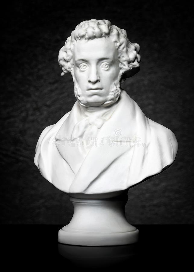 skulptur Fehlschlag eines großen russischen Dichters Alexander Pushkin stockfotos