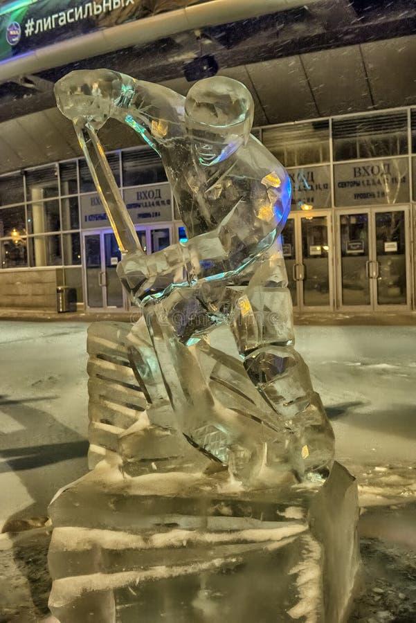 Skulptur gemacht vom Eishockey lizenzfreie stockfotografie