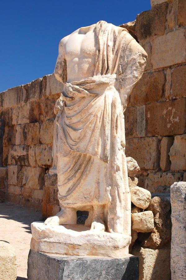 Skulptur im alten Theater in den Salamis, Zypern lizenzfreie stockfotos