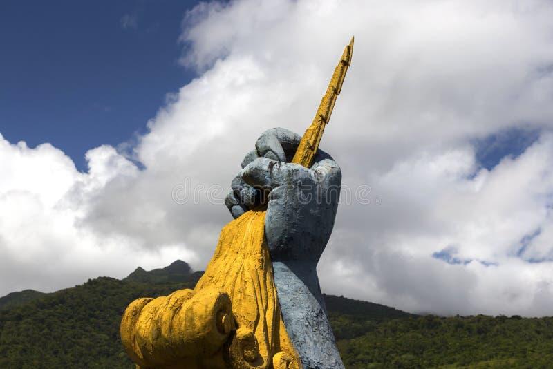 Skulptur-menschliche Faust-Blitz-Energie Mirador Des Fortuna der Natur Panama stockbilder
