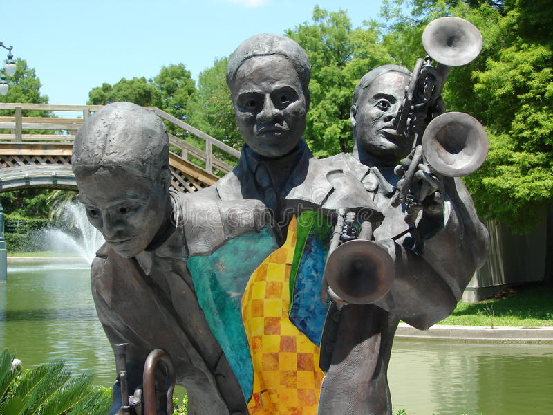 Skulptur New Orleans Buddy King Bolden Bronze Cast in Louis Armstrong Park stockfotografie