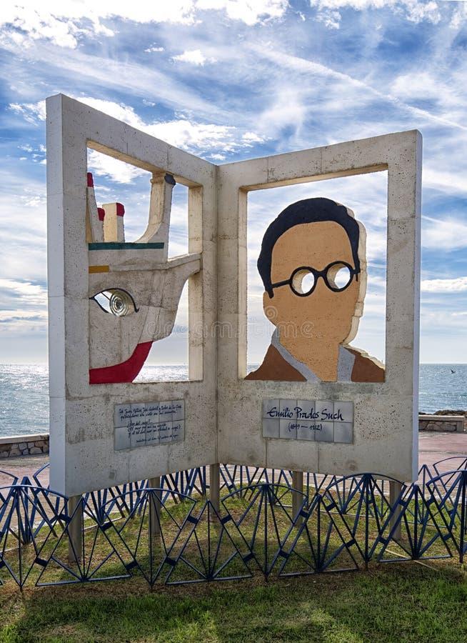 Skulptur tilldelad till Emilio Prados Poet El Palo, Spanien arkivfoton