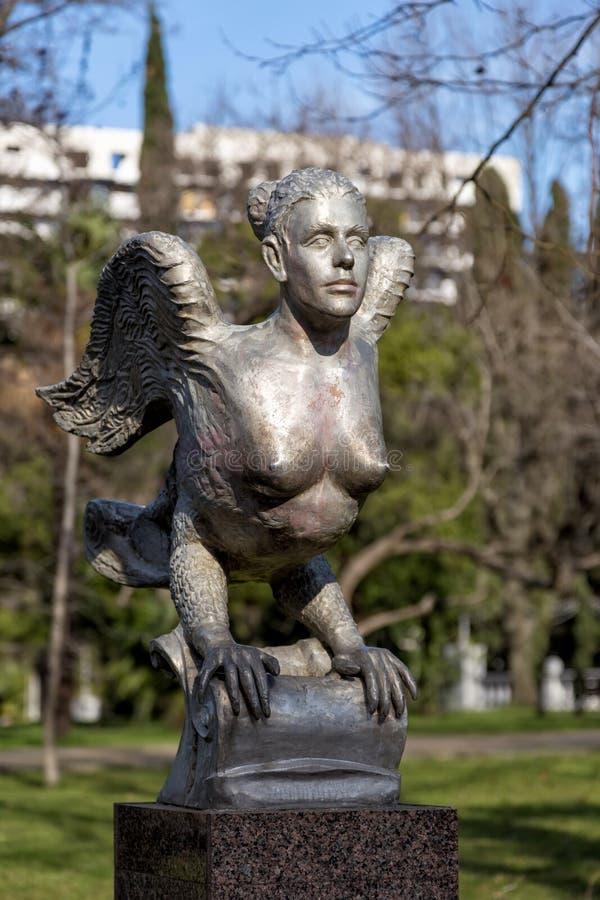 Skulptur-Vogel Sirin Sochi Russland stockfoto