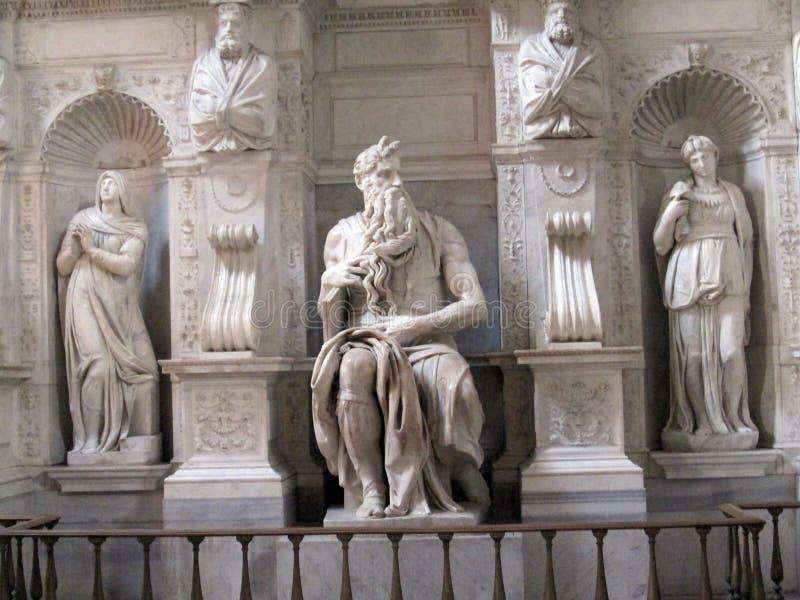 Skulptur von Mosese durch Michelangelo, San Pietro in Vincoli Rom stockbild