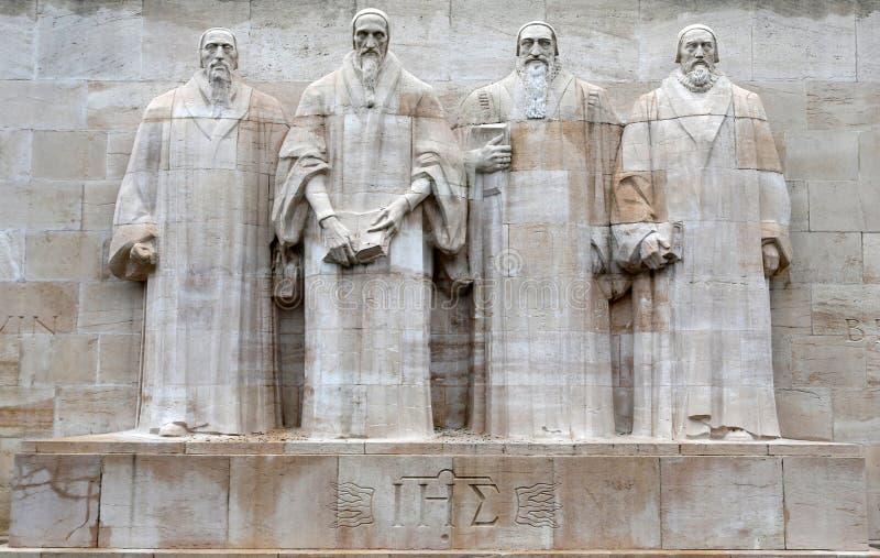 Skulptural sammansättning ' Reformation Wall' arkivbilder
