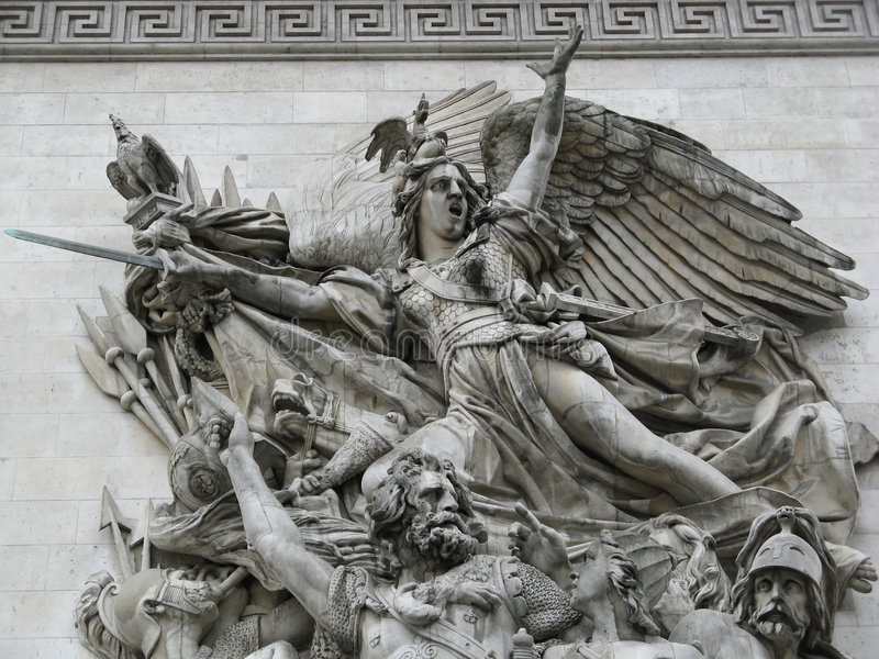 Skulpturen des französischen Triump Bogens stockbilder