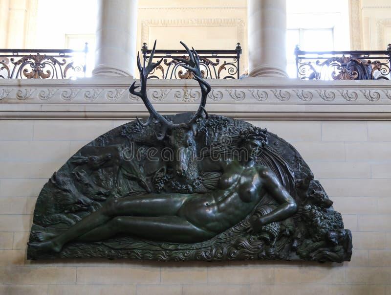 Skulpturen i det le luftventil museet, paris, Frankrike royaltyfri fotografi