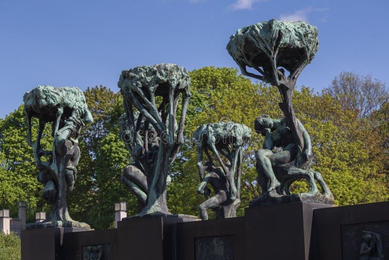 Skulpturer för Gustav Vigeland ` s i Frogner parkerar arkivbild