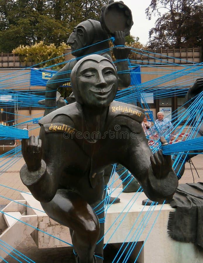 Skulpturer i fyrkantiga Luxembourg arkivbilder