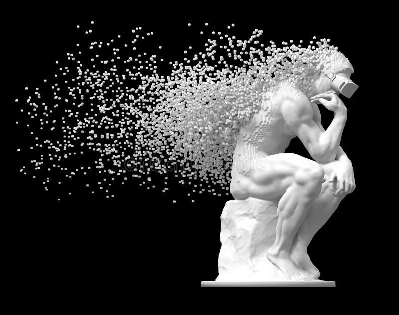Skulpturtänkare med VR-exponeringsglas som desintegreras in i PIXEL 3D på svart bakgrund royaltyfri illustrationer