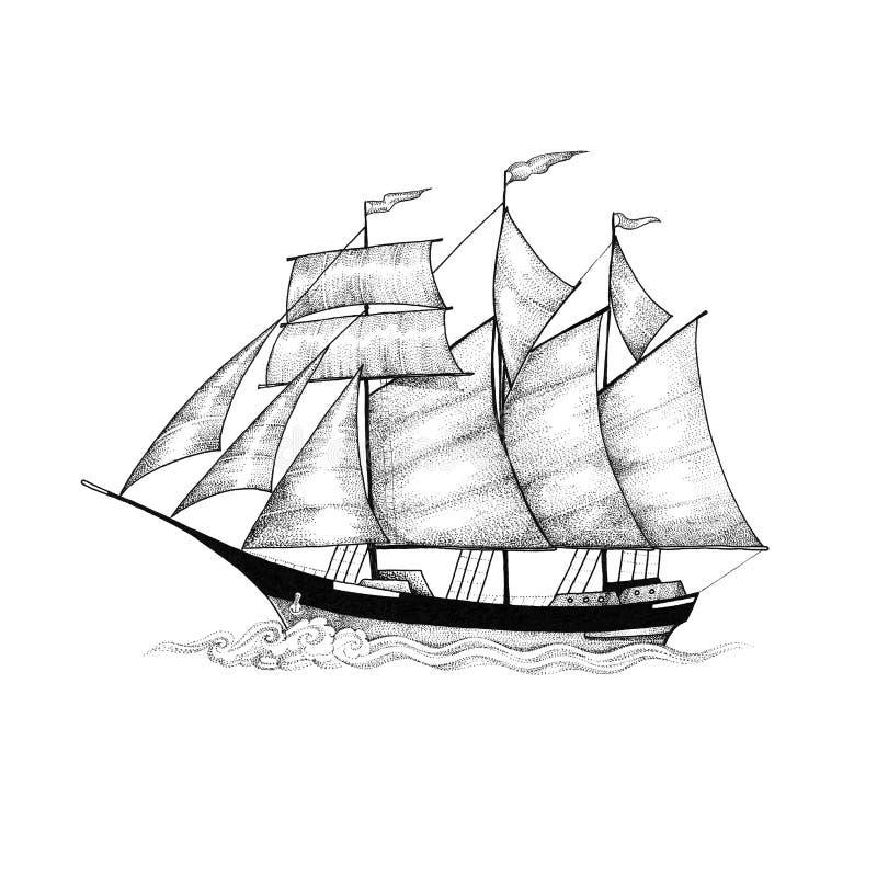 Skuner, żeglowanie statek ono ślizga się na fala royalty ilustracja