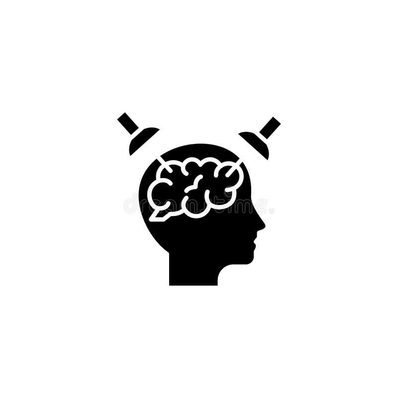 Skupiać się na zagadnienie ikony czarnym pojęciu Skupiający się na zagadnienie płaskim wektorowym symbolu, znak, ilustracja ilustracji