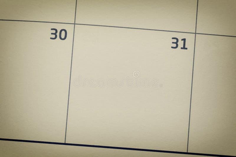 Skupia się kalendarzowego dzień na liczbie 31 znacząco dzień obrazy stock