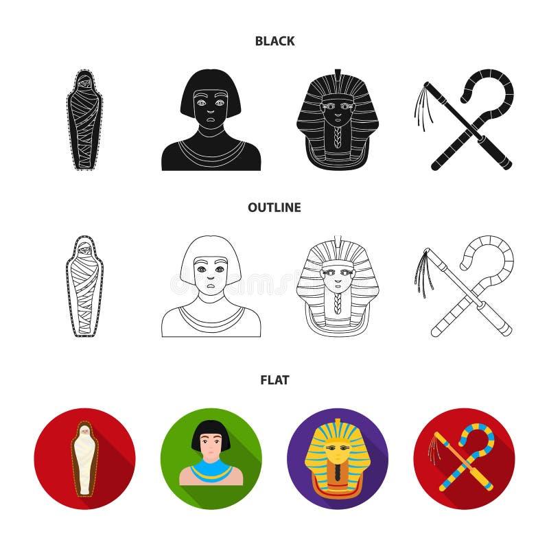 Skurk och slaga, en guld- maskering, en egyptier, en mamma i en gravvalv Symboler för forntida Egypten uppsättningsamling i svart stock illustrationer