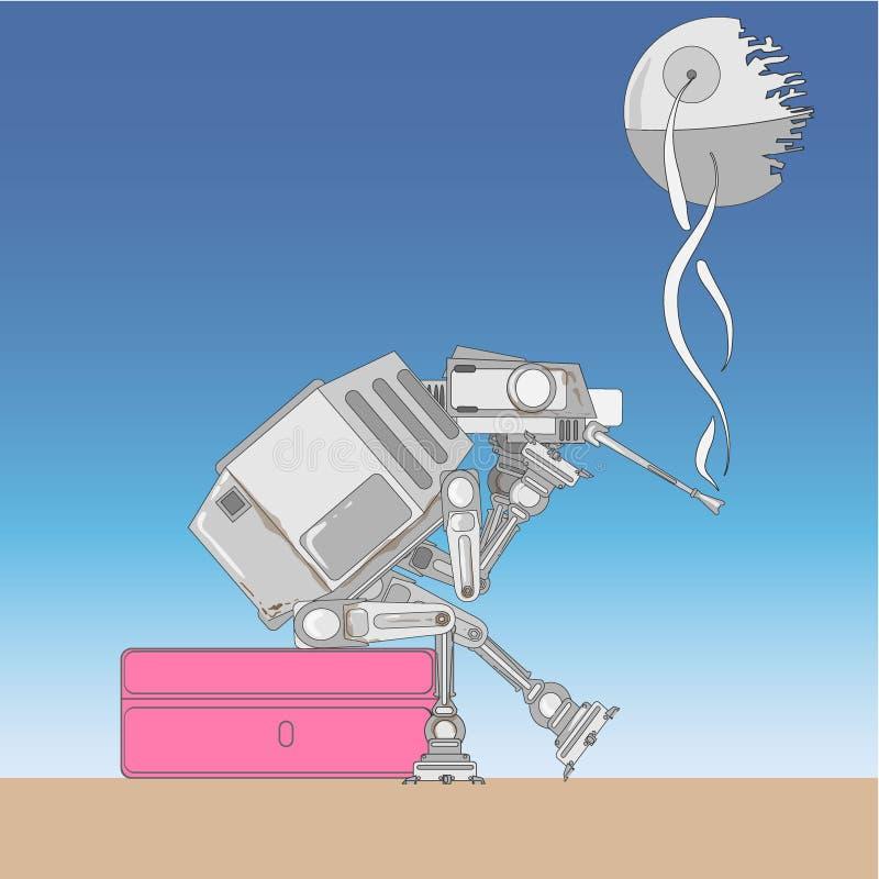 Skurkroll beväpnat mekaniserat intelligent medel stock illustrationer